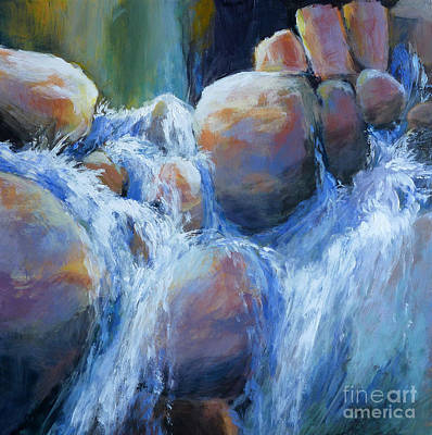 Rushing Water Painting - Cascade 2 by Melody Cleary
