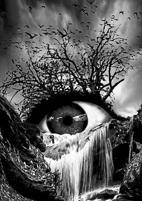 Surrealistic Digital Art - Cascade Crying Eye Grayscale by Marian Voicu