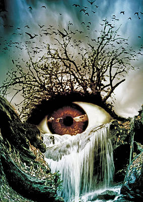 Surrealistic Digital Art - Cascade Crying Eye by Marian Voicu
