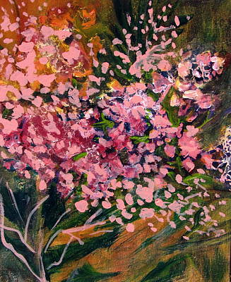 Greens Golds And Pinks Mixed Media - Cascade Of Pink Blossums by Betty Pieper