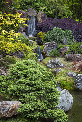 Zen Photograph - Cascade Waterfall - Japanese Tea Garden by Adam Romanowicz