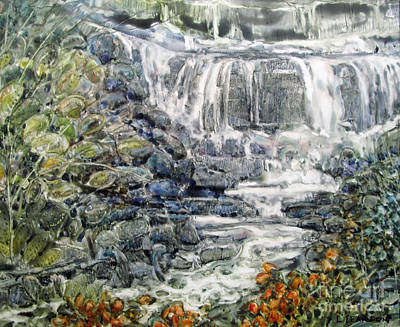 Painting - Cascade With A Touch Of Orange by Louise Peardon