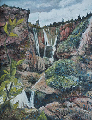 South African Artist Painting - Cascades D'ouzoud Morocco 2014 by Enver Larney