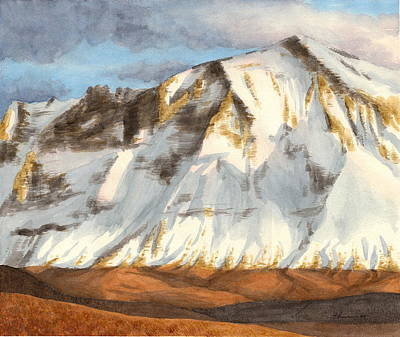 Drawing - Cascades Mountain Watercolor Painting by Mike Theuer