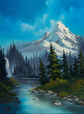 Bob-ross-style Painting - Cascading Falls by C Steele