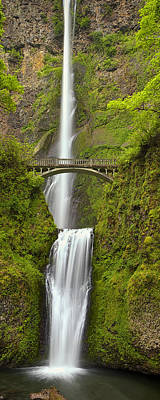 Multnomah Falls Waterfall Photograph - Cascading Panorama by Andrew Soundarajan