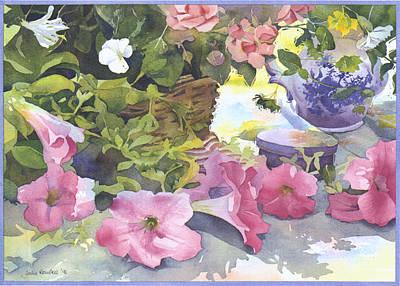 Petunia Photograph - cascading Petunias by Julia Rowntree