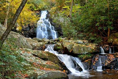 Photograph - Cascading Waterfall With Fall Leaves  by Patricia Twardzik