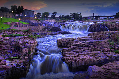 Photograph - Cascading Waterfalls At Sunset by Randall Nyhof