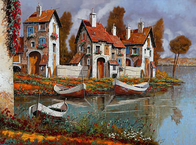 River Boat Painting - Case A Cerchio by Guido Borelli
