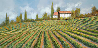 Wine Royalty-Free and Rights-Managed Images - Case Bianche Nella Vigna by Guido Borelli