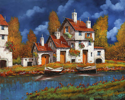 Roof Painting - Case Bianche Sul Fiume by Guido Borelli