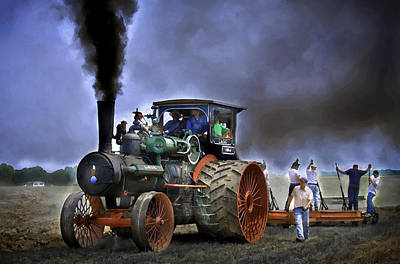 Keck Photograph - Case Steam Traction Engine Plowing by F Leblanc