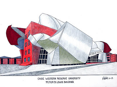 Drawing - Case Western Reserve University by Frederic Kohli