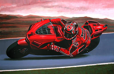 Motorcycle Wall Art - Painting - Casey Stoner On Ducati by Paul Meijering