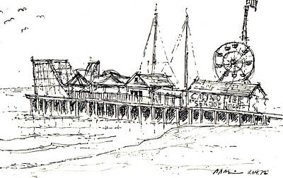 Drawing - Casino Pier In Seaside Heights Nj by Jason Nicholas