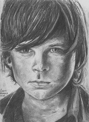 Grime Drawing - Carl Grimes by Casey Rhodes