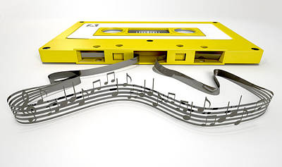 Cassette Tape And Musical Notes Concept Art Print by Allan Swart