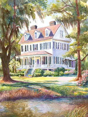 Southern Homes Painting - Cassina Point Edisto Island Sc by Alice Grimsley