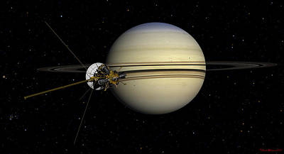Enceladus Digital Art - Cassini Entering The Saturn System by David Robinson
