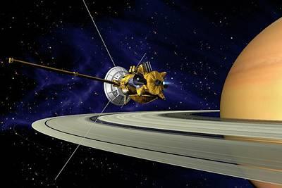 Cassini Orbiter At Saturn Art Print