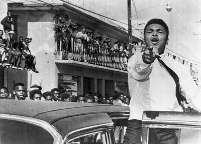 Cassius Clay In Football Parade Print by Underwood Archives