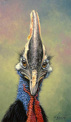 Bird Painting - Cassowary by Paul Krapf