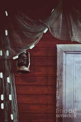 Netting Photograph - Cast Net And Lantern by Stephanie Frey