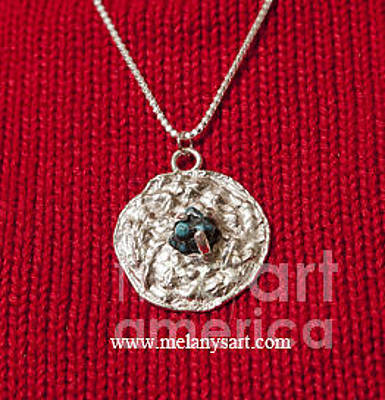 Jewelry - Cast Silver And Turquoise Pendant by Melany Sarafis