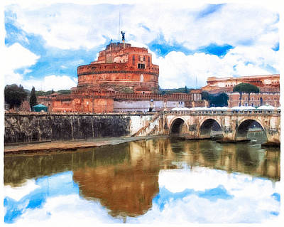 Photograph - Castel Sant'angelo Reflecting In The Tiber - Rome by Mark E Tisdale