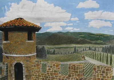 Napa Valley Drawing - Castello Di Amorosa by Steve Keller