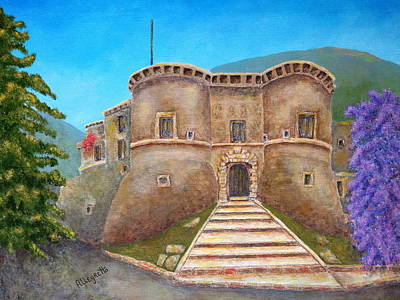 Stone Buildings Painting - Castello Ducale Di Faicchio by Pamela Allegretto