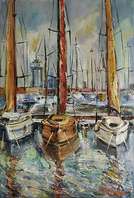 Castellon Boats At Noon Art Print by Stefano Popovski
