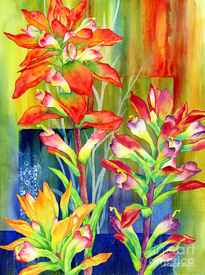 Wild Flowers Wall Art - Painting - Castilleja Indivisa by Hailey E Herrera