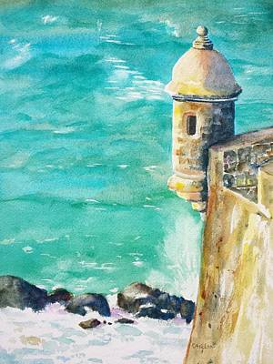 Puerto Wall Art - Painting - Castillo De San Cristobal Ocean Sentry  by Carlin Blahnik CarlinArtWatercolor