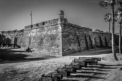 Photograph - Castillo De San Marcos St Augustine Florida Painted Bw  by Rich Franco