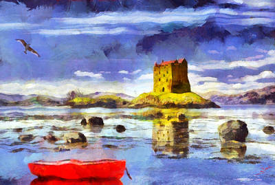 Red Painting - Castle 2 by George Rossidis