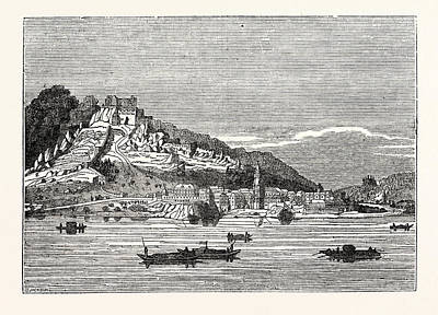 Durnstein Drawing - Castle And Village Of Durnstein From The Danube by English School