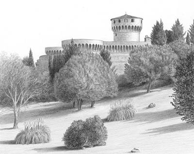 Pine Trees Drawing - Castle At Volterra by Diane Cardaci