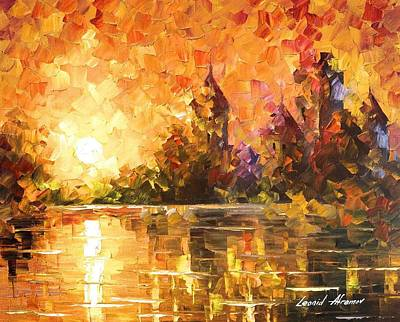 Castle By The River - Palette Knife Oil Painting On Canvas By Leonid Afremov Original by Leonid Afremov