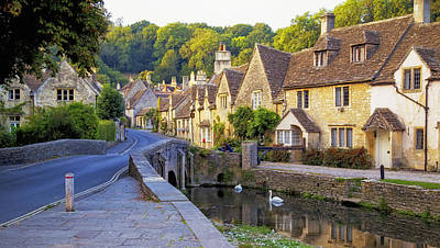 Photograph - Castle Combe Bridge And Swans by Michael Hope