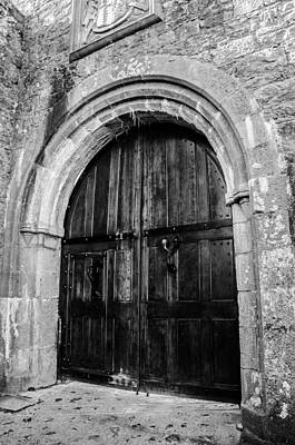 Castle Door In Black And White Print by AMB Fine Art Photography