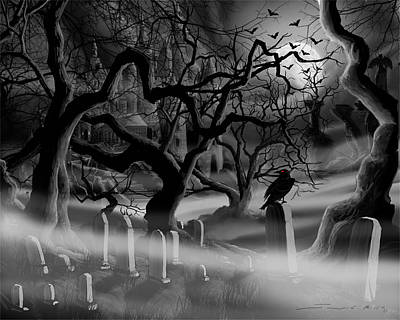 Headstones Painting - Castle Graveyard by James Christopher Hill