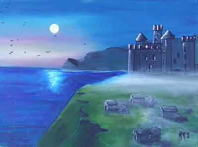 Painting - Castle In Moon Light by Angela Stout