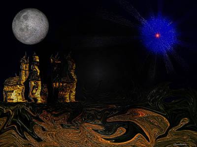 Castle In The Night Art Print by Ramon Martinez