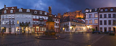 Castle In Town Square At Dusk Print by Panoramic Images