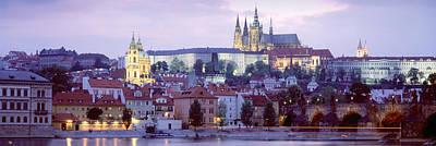 Prague Photograph - Castle Lit Up At Dusk, Hradcany Castle by Panoramic Images
