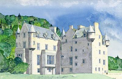 Flags Painting - Castle Menzies by David Herbert
