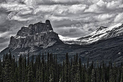 Photograph - Castle Mountain - Banff - Black And White by Stuart Litoff