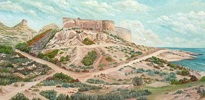 Sand Fences Painting - Castle Of Rodalquilar  by Angeles M Pomata